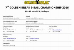 7th GOLDEN BREAK 9-­BALL CHAMPIONSHIP 2016:柯乗逸優勝!