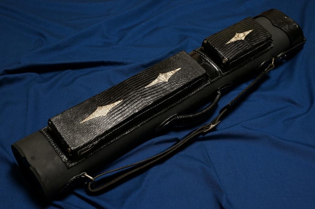 Volturi|ヴォルツーリ 本革 ブラック・ブラック クロコダイル リザードインレイ(3B/6S) カスタム キューケース
