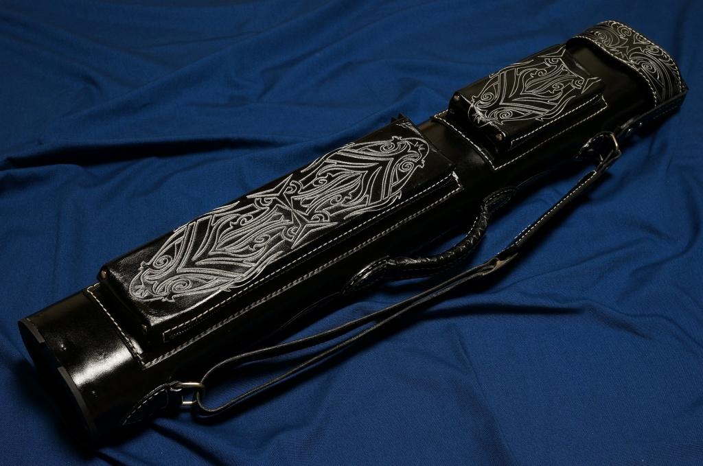 Volturi|ヴォルツーリ 本革 ブラック・ブラック ハンドクラフト フルカービング(3B/6S) カスタム キューケース