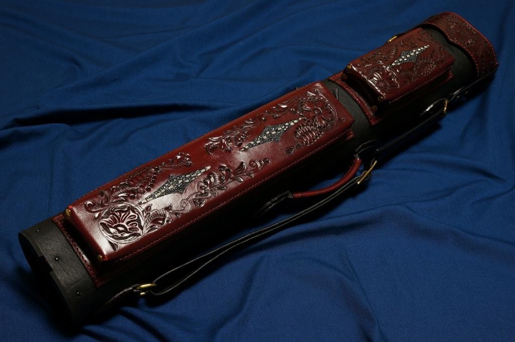 Volturi|ヴォルツーリ 本革 ブラック・ブラウン カービング スティングレイインレイ(3B/6S) カスタム キューケース