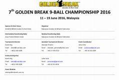 7th GOLDEN BREAK 9-BALL CHAMPIONSHIP 2016:柯乗逸優勝!