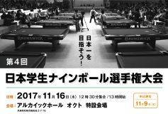 第4回 日本学生9ボール選手権:学生選手権クラスは杉山功起、ジュニアクラスは村松勇志が優勝!