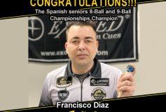MEZZ:フランシスコ・ディアスが「Spanish seniors 8-Ball and 9-Ball Championships」で優勝!