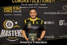 MEZZ:アメリコ・フランシスコが「6⁰ Open ESC Online Masters Pool PT」で優勝!