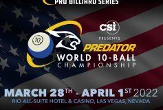 「2022 Predator 10ボール世界選手権」は3月下旬、ラスベガス開催!